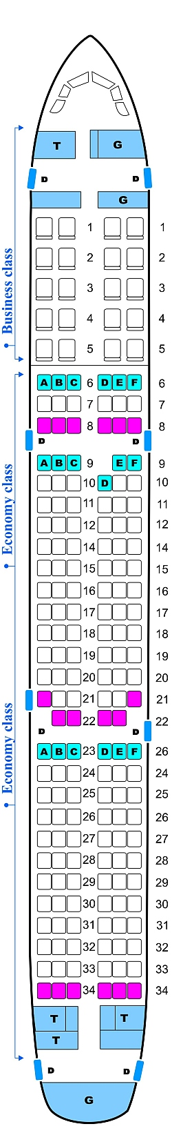 Seat Map Cyprus Turkish Airlines Airbus A321 | SeatMaestro