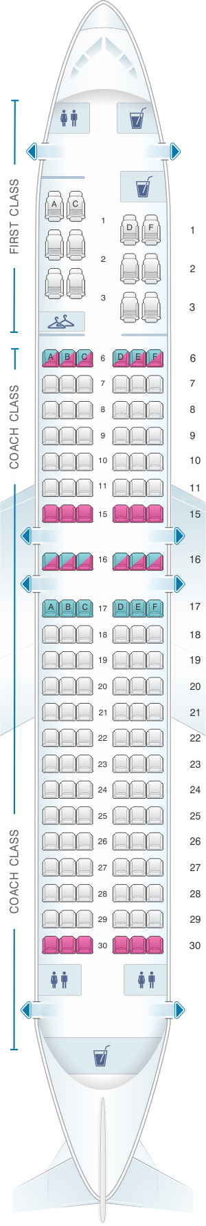 Seat map for Alaska Airlines - Horizon Air Boeing B737 400
