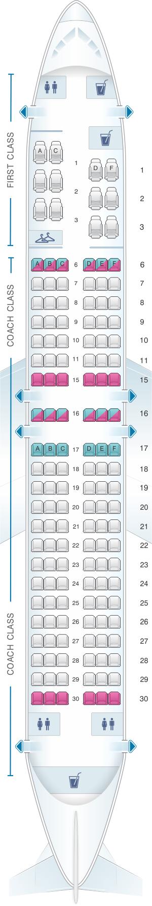 Seat Map Alaska Airlines - Horizon Air Boeing B737 400 ...