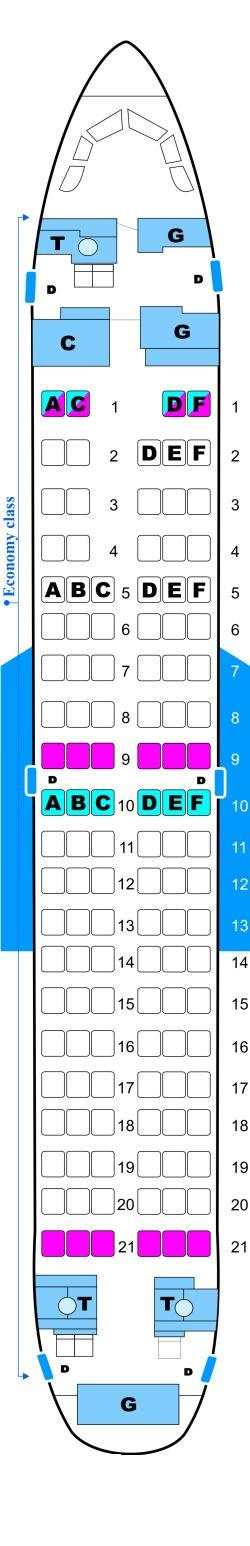 Seat map for Malev Hungarian Airlines Boeing B737 700NG