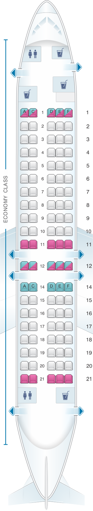 Seat map for Moldavian Airlines Fokker-100