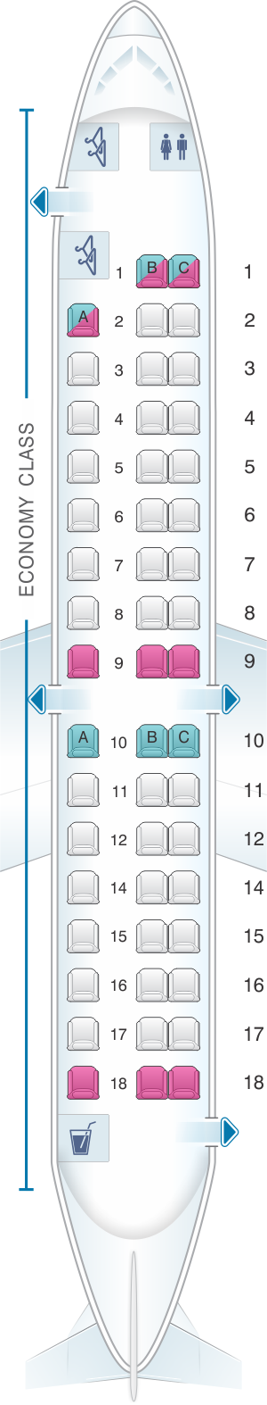 Seat map for Moldavian Airlines SAAB-2000