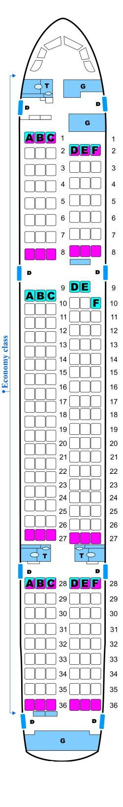 Seat map for Skyservice Airlines Boeing B757 200