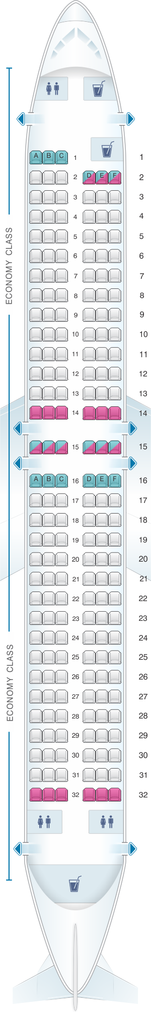 Seat map for SpiceJet Boeing B737 800