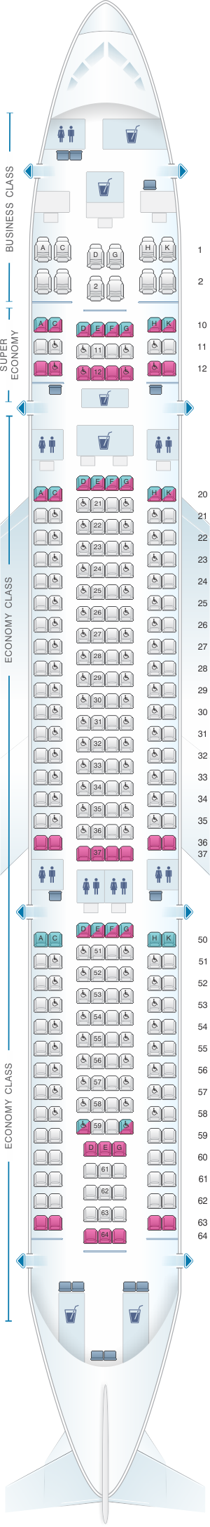 Seat map for SriLankan Airlines Airbus A330-200 Config. 2