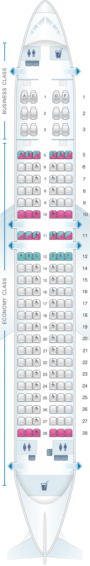 Seat map for SriLankan Airlines Airbus A320 Config. 1