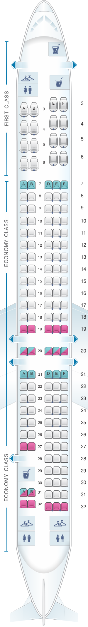 Seat map for American Airlines McDonnell Douglas MD 80