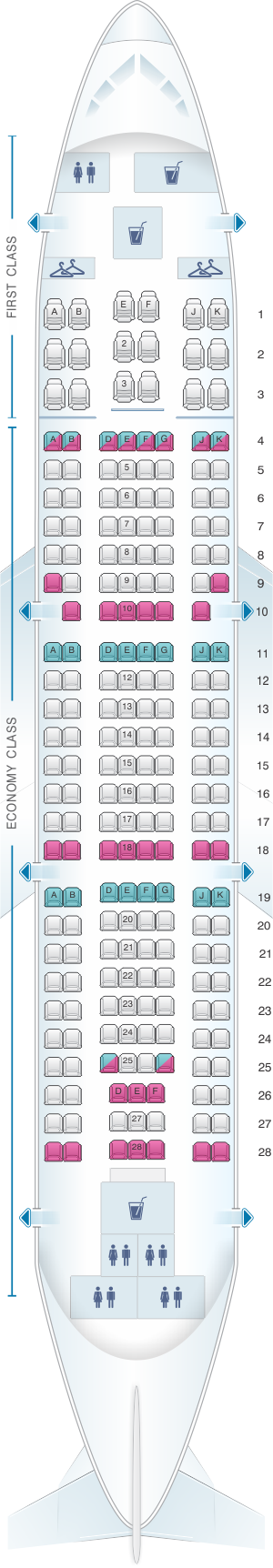 Seat map for Yemenia - Yemen Airways Airbus A310 324 213pax