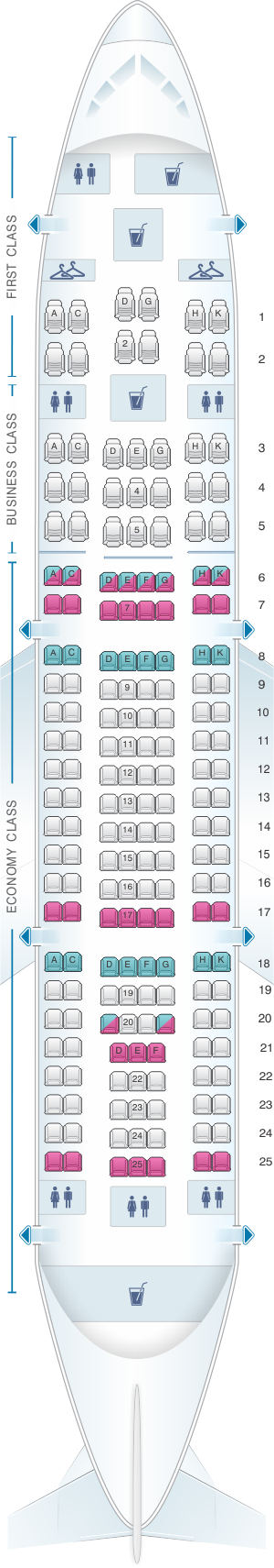 Seat map for Yemenia - Yemen Airways Airbus A310 325 190pax