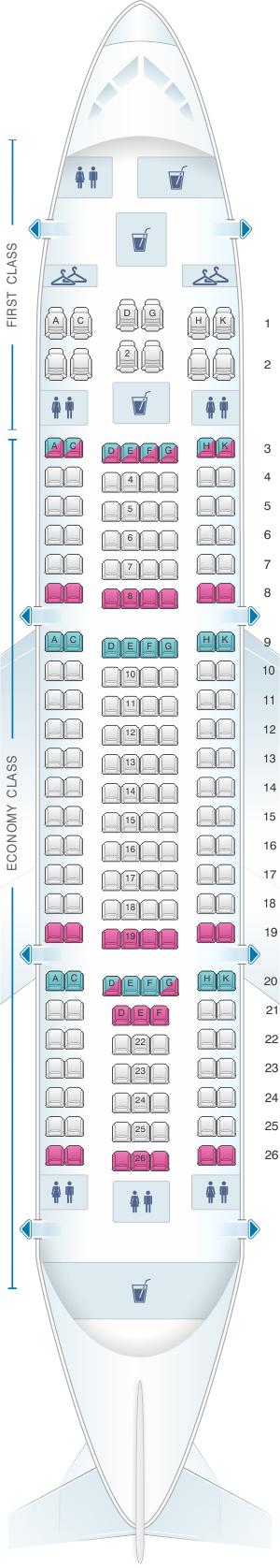 Seat map for Yemenia - Yemen Airways Airbus A310 325 198pax