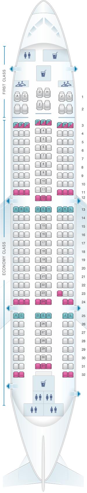 Seat map for Yemenia - Yemen Airways Airbus A310 324 256pax