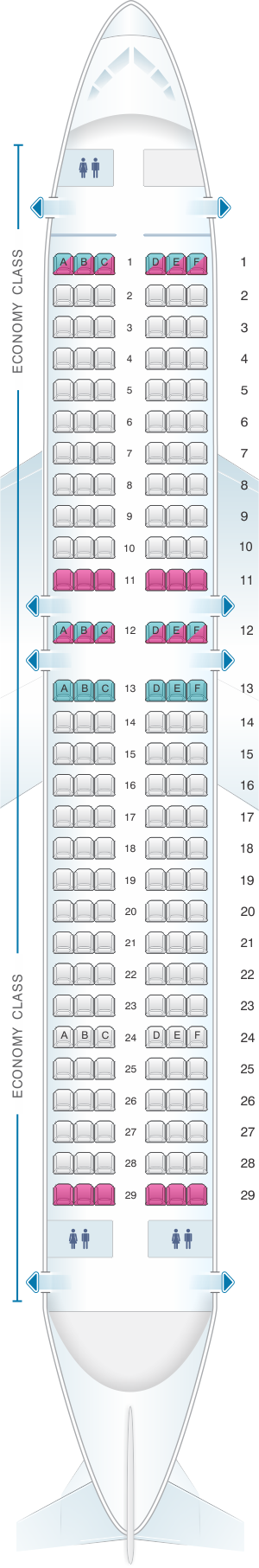 Seat map for Aer Lingus Airbus A320