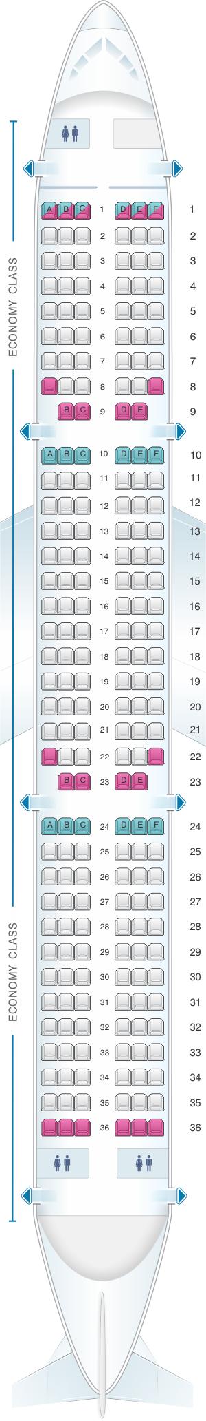 Seat Map Aer Lingus Airbus A321 | SeatMaestro