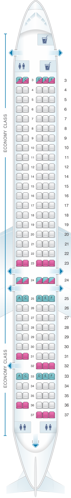 Seat map for Allegiant Air McDonnell Douglas MD 80