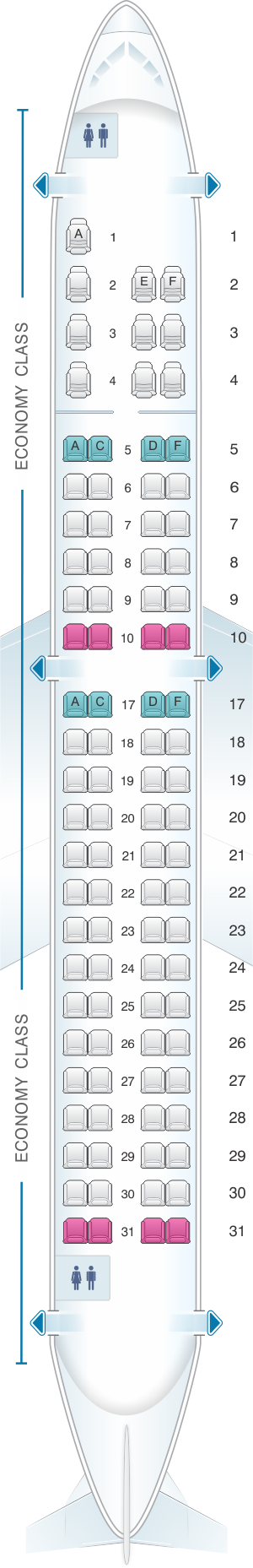 Seat map for Copa Airlines Embraer ERJ 190A