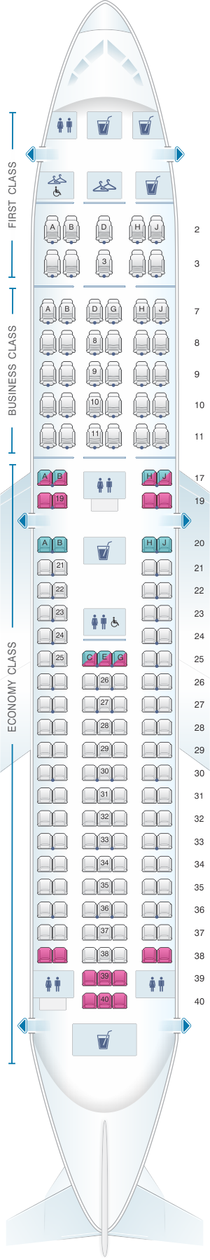 Seat map for American Airlines Boeing B767 200