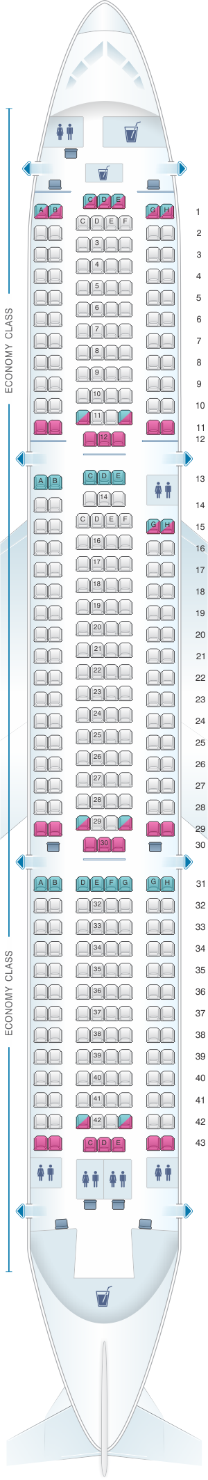 Seat map for Thomas Cook Airlines Boeing B767 300