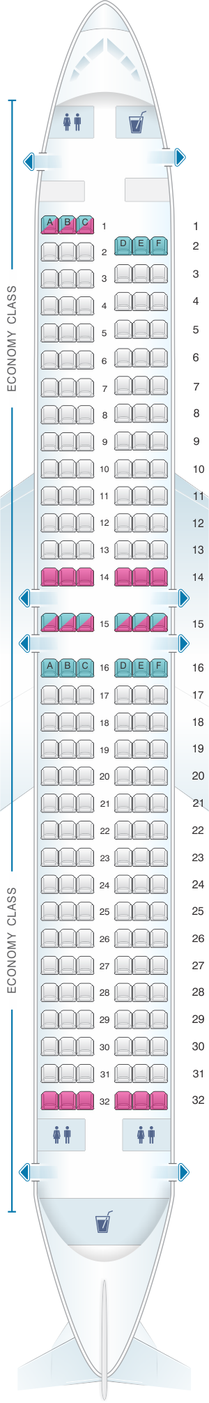 Seat map for TUIfly Boeing B737 800