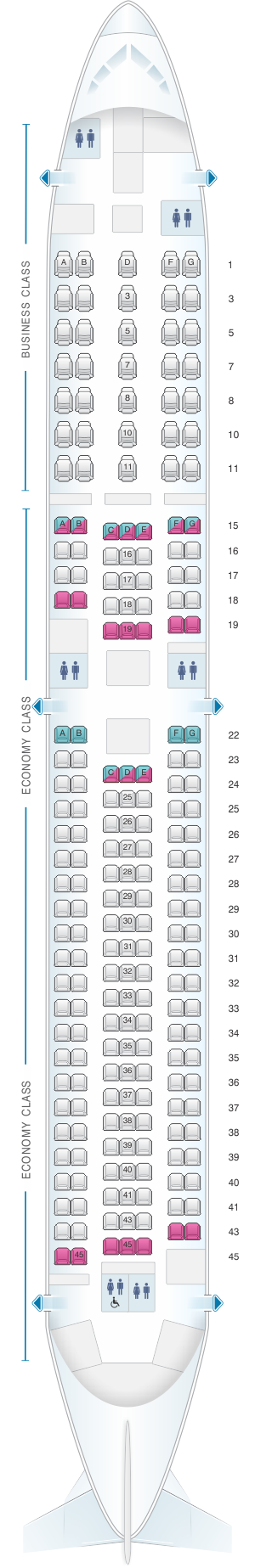 Seat map for ANA - All Nippon Airways Boeing B767 300ER 214pax