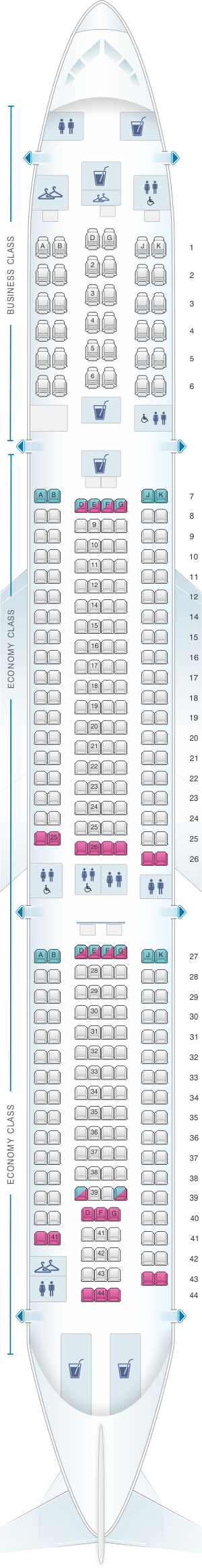 Seat Map China Airlines Airbus A330 300 Config 2