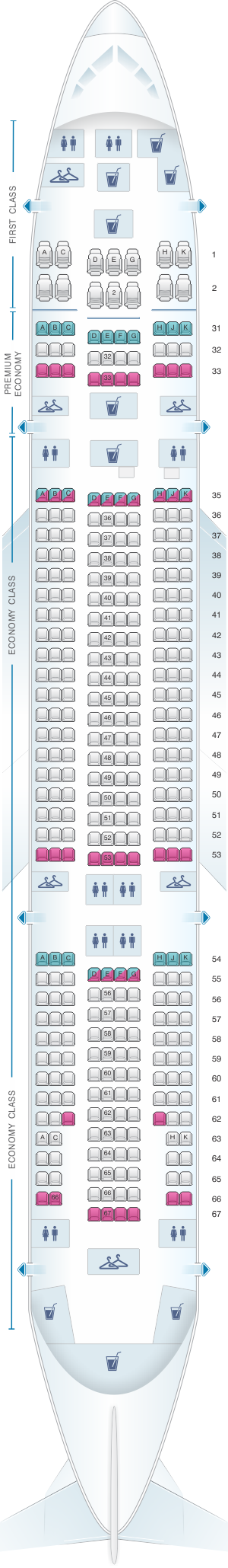Seat map for China Southern Airlines Boeing B777A