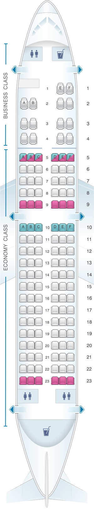 Seat map for Csa Czech Airlines Airbus A319 100