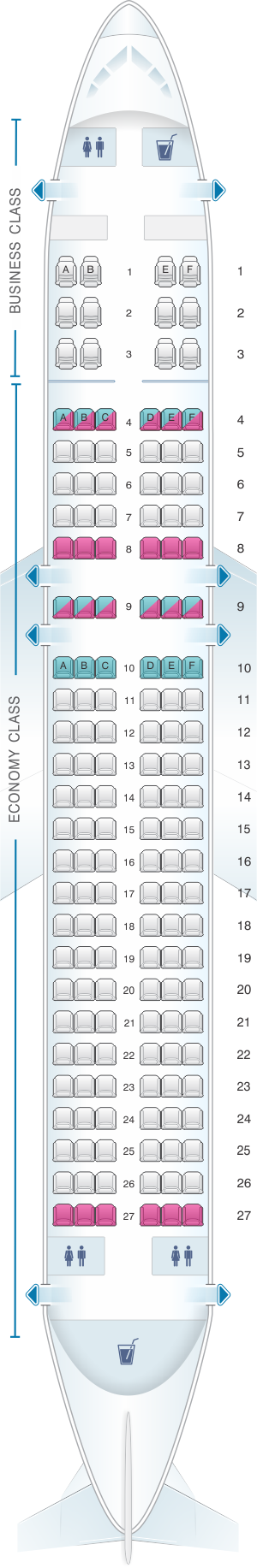 Seat map for Csa Czech Airlines Airbus A320 200