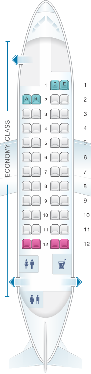 Seat map for Csa Czech Airlines ATR 42 320