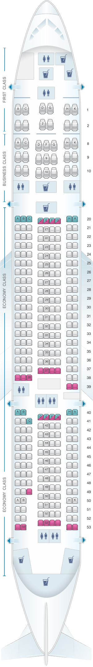 Seat map for Egyptair Boeing B777 200