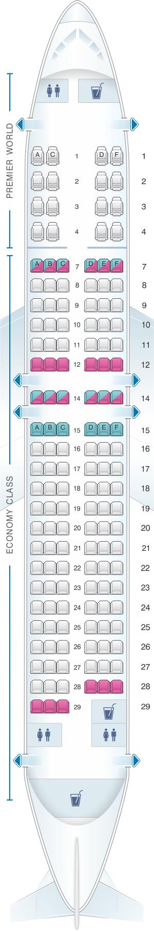 Seat map for Kenya Airways Boeing B737 800