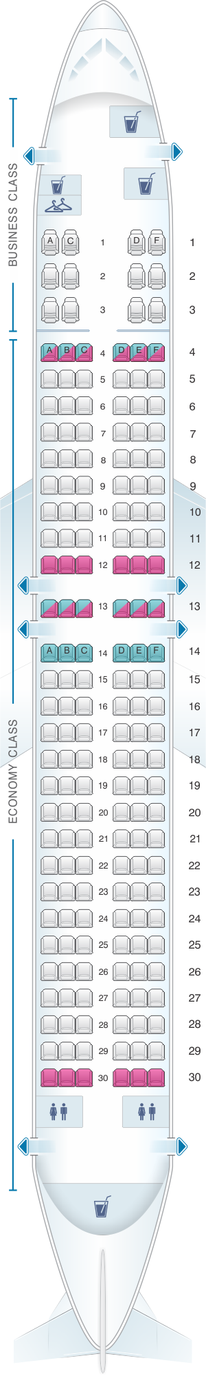 Seat map for MIAT Mongolian Airlines Boeing B737 800W