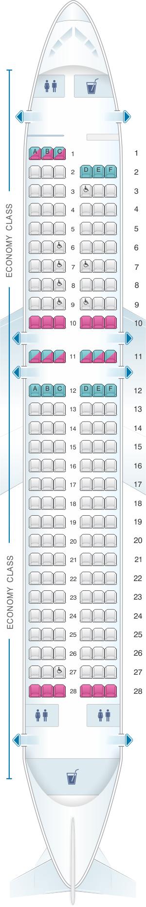 Seat map for SATA Air Açores Airbus A320-200 Config.3