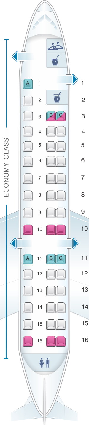 Seat map for American Airlines Embraer ERJ 140