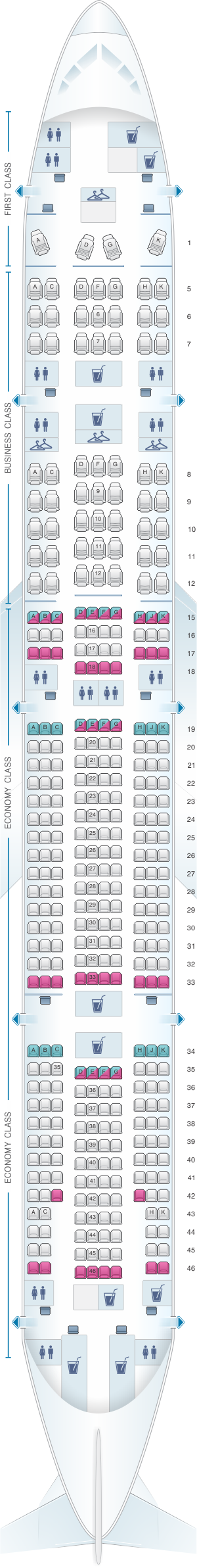 Seat map for LATAM Airlines Brasil Boeing B777 300ER V1