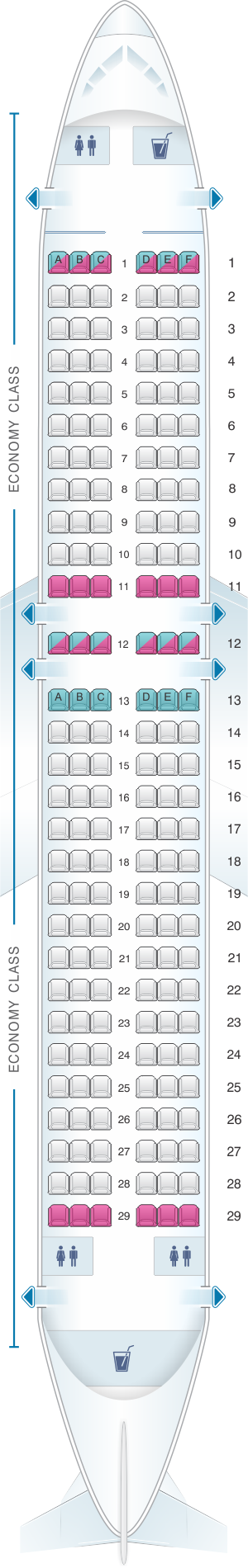 Seat map for TAM Airlines Airbus A320