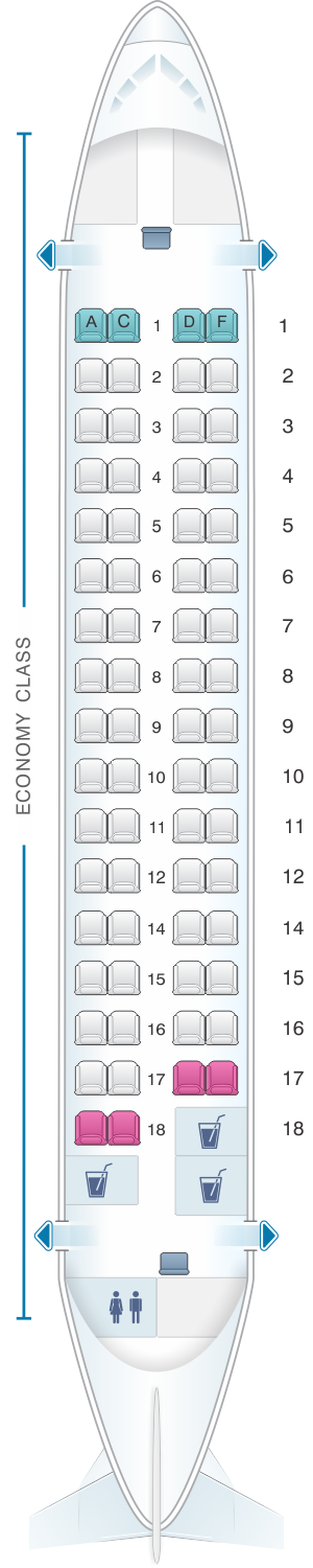 Seat map for Kingfisher Airlines Aerospatiale ATR72 500 66PAX