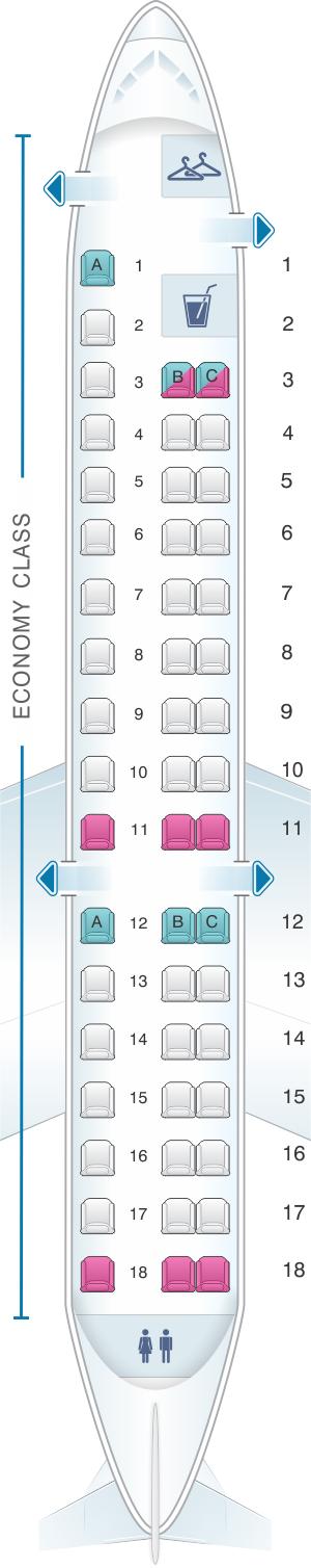 Seat Map American Airlines Embraer ERJ SeatMaestrocom - Us airways seating map