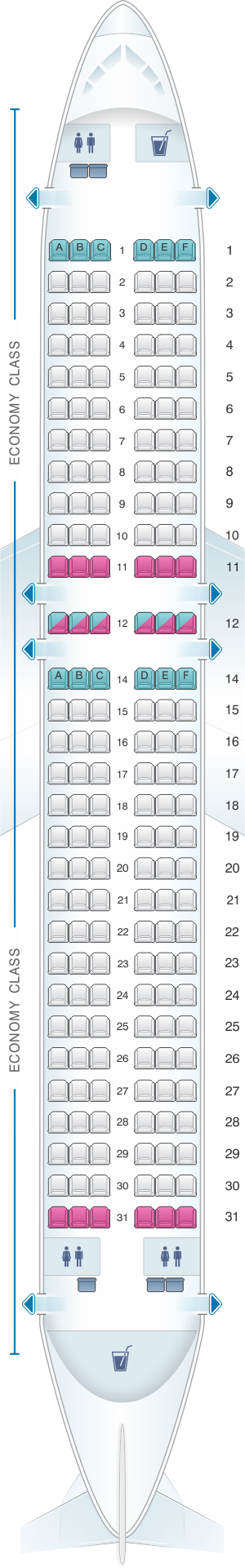 Seat map for Kingfisher Airlines Airbus A320 200 180PAX