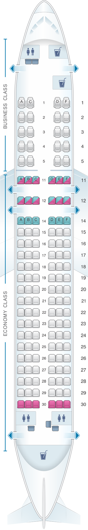 Seat map for Kingfisher Airlines Airbus A320 200 134PAX