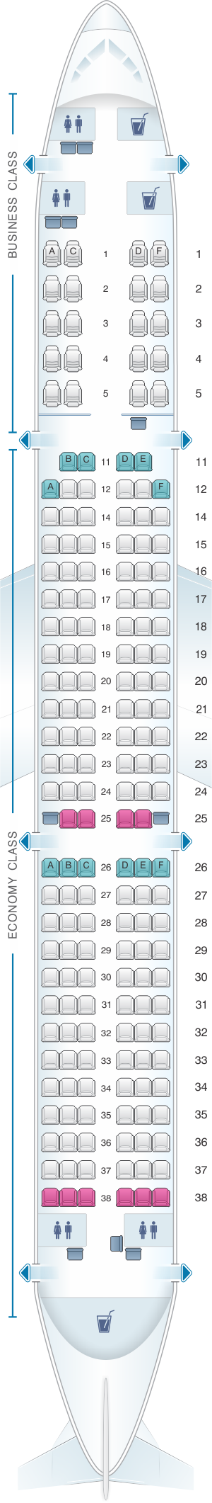 Seat map for Kingfisher Airlines Airbus A321 200 178PAX