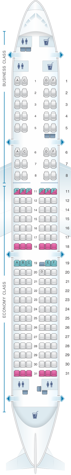 Seat map for Kingfisher Airlines Airbus A321 200 151PAX