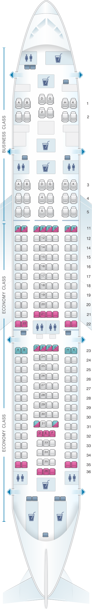 Seat map for Kingfisher Airlines Airbus A330 200