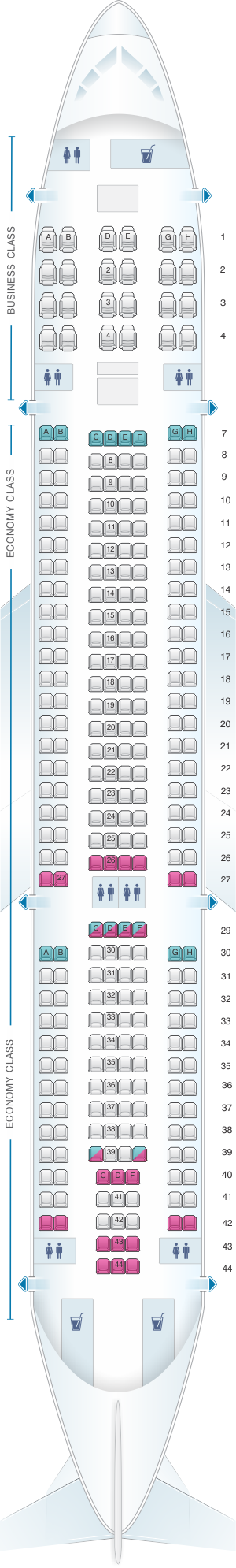 Seat map for Air Europa Airbus A330 200