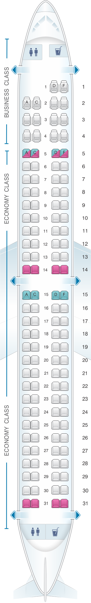 Seat map for Air Europa Embraer 195