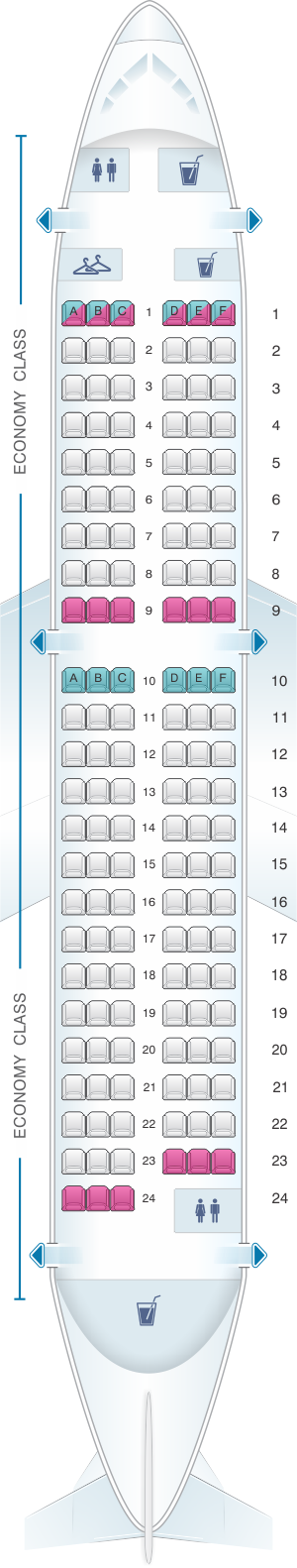 Seat map for Brussels Airlines Airbus A319