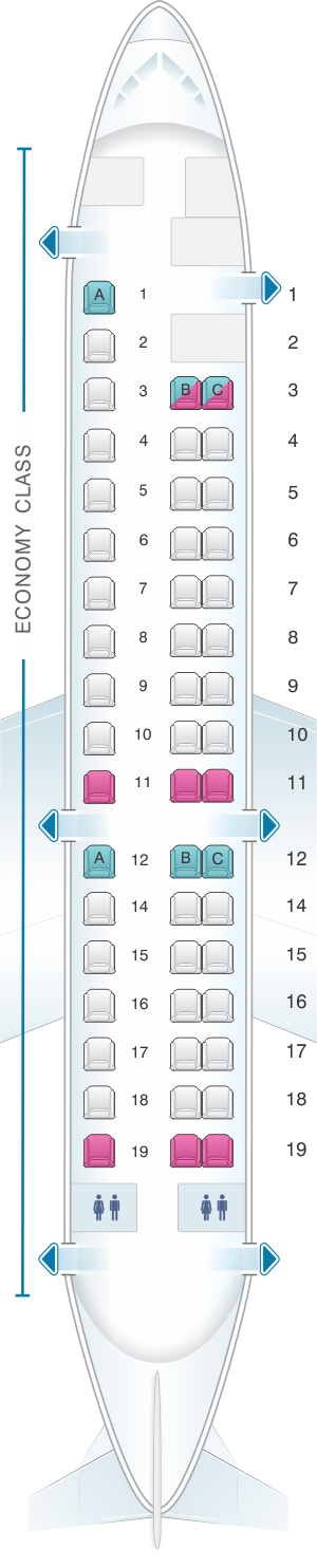 Seat map for Aeromexico Embraer ERJ 145