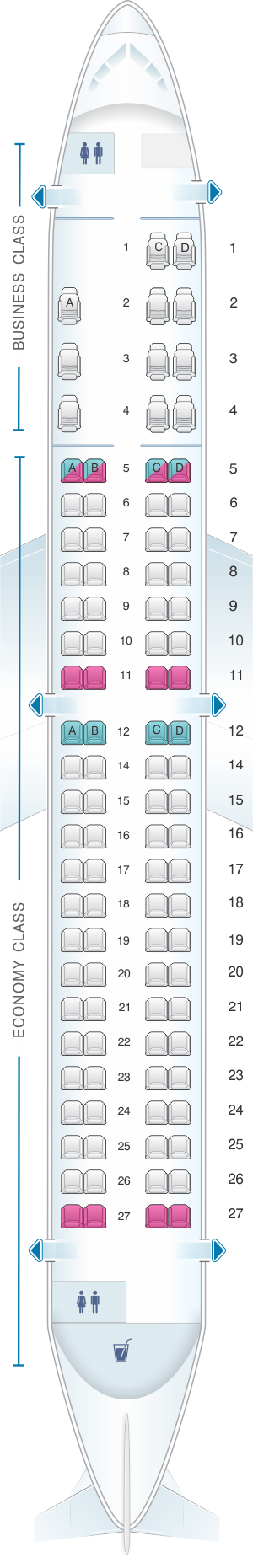 Seat map for Aeromexico Embraer EMB 190