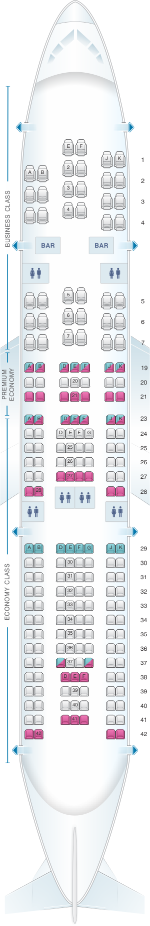 Seat map for Air France Airbus A330 200 Long-Haul International 208PAX