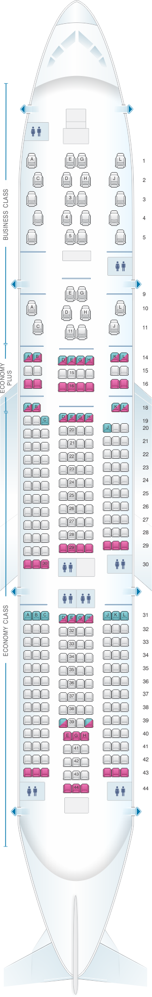 Seat map for Alitalia Airlines - Air One Boeing B777 200 ER