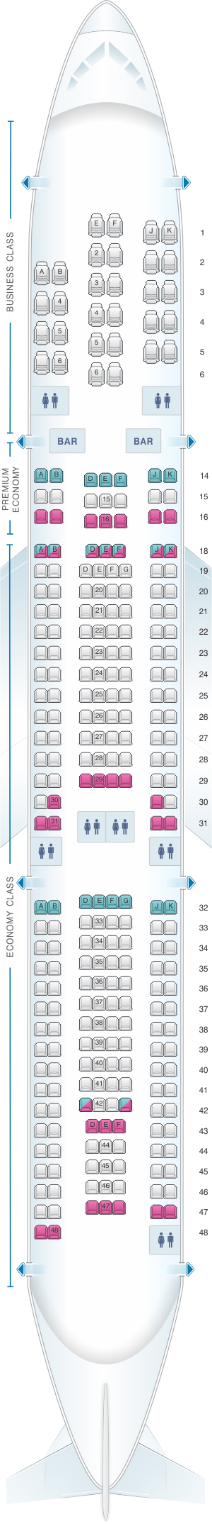 Seat map for Air France Airbus A340 300 Long-Haul International 275PAX